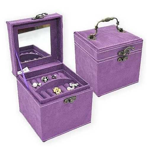 Soft Velour - Personal Jewel Box in Luscious Colors with Ornate Hardware