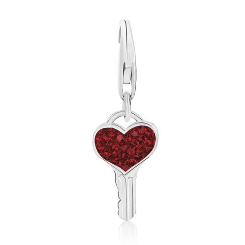 Sterling Silver Key Red Tone Crystal Accented Charm