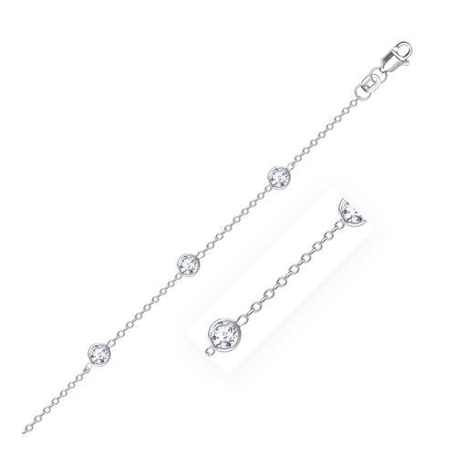 14k White Gold Anklet with Round White Cubic Zirconia, size 10''