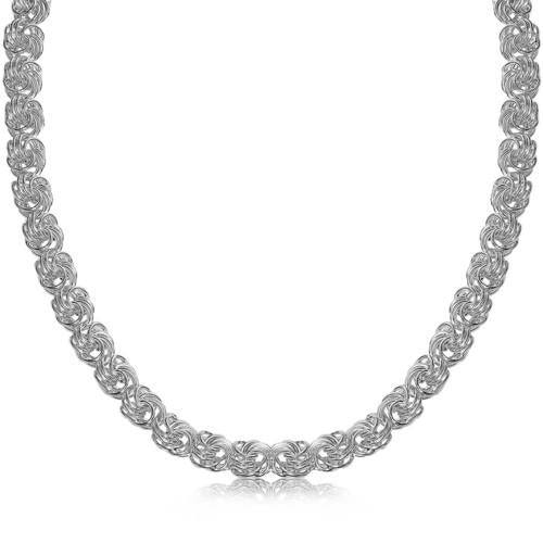 Sterling Silver Rhodium Plated Byzantine Motif Chain Necklace, size 18''