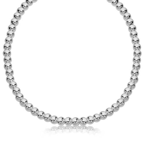 Sterling Silver Polished Bead Necklace with Rhodium Plating (6mm), size 16''