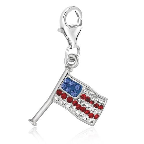 Sterling Silver Multi Tone Crystal Embellished American Flag Charm