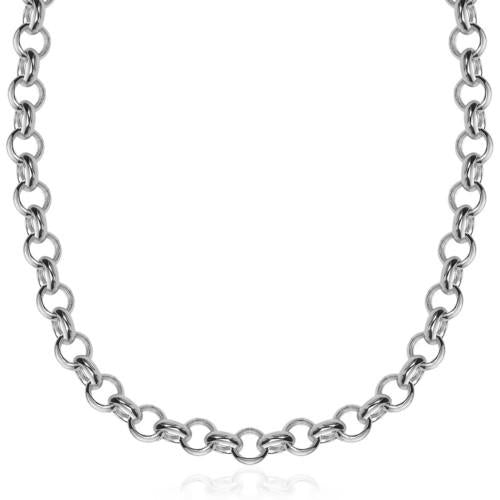 Sterling Silver Rhodium Plated Classic Rolo Chain Necklace, size 18''