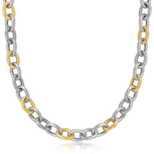 18k Yellow Gold and Sterling Silver Rhodium Plated Diamond Cut Chain Necklace, size 18''