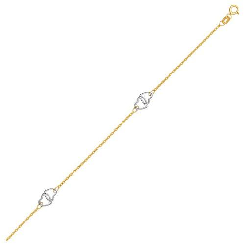 14k Two Tone Gold Entwined Heart Stationed Anklet, size 10''