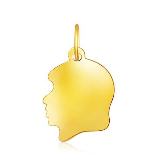 14k Yellow Gold Small Girl Head Charm