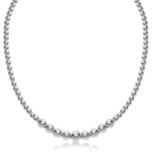 Sterling Silver Rhodium Plated Graduated Motif Polished Bead Necklace, size 17''