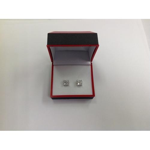 4 Square CZ Stud Earring in Gift Box