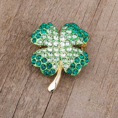 Green And Gold Tone Shamrock Brooch With Crystals