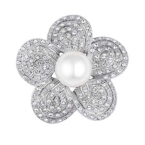 Rhodium Plated Crystal and Simulated Pearl Sakura Brooch