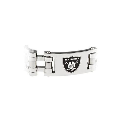 Stainless steel Oakland Raiders Team Logo Bracelet - 8 Inch
