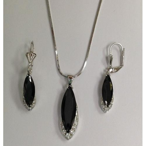 Black CZ Necklace and Earring Set Rhodium Plated in Gift Box