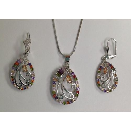 Multicolor Baguette CZ Necklace and Earring Set Rhodium Plated in Gift Box