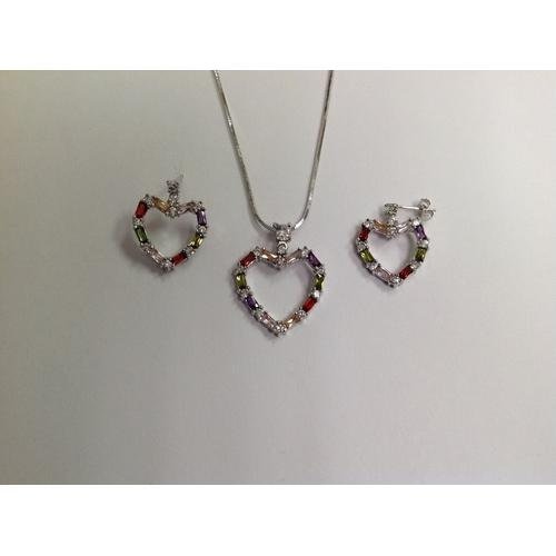 Heart Multicolor Baguette CZ Necklace and Earring Set Rhodium Plated in Gift Box