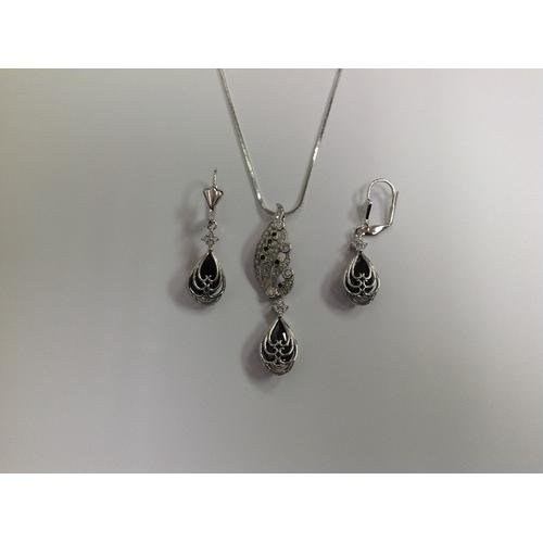 Black and Clear CZ Necklace and Earring Set Rhodium Plated in Gift Box
