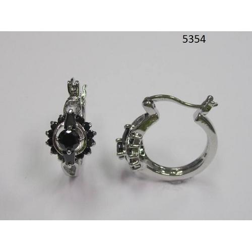 Black Round and Baguette CZ Earring