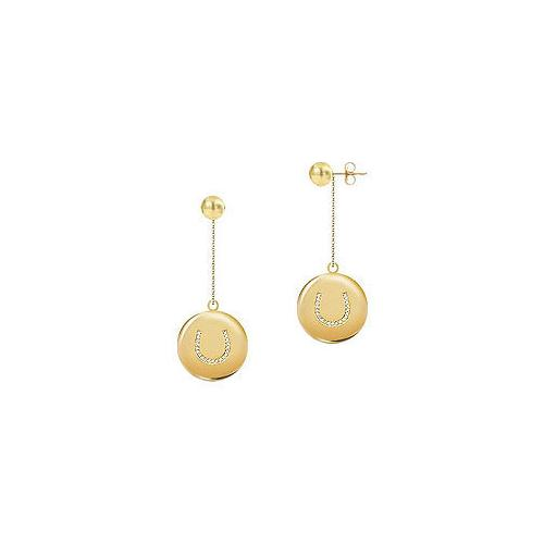 Diamond Horseshoe Earrings : 14K Yellow Gold - 0.33 CT Diamonds