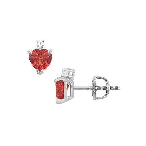 Diamond and Ruby Stud Earrings : 14K White Gold - 2.04 CT TGW