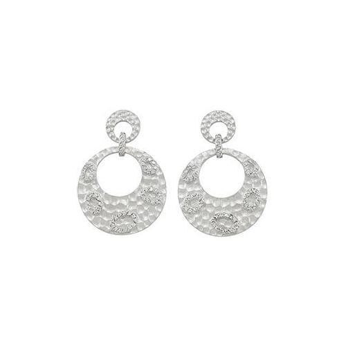 Sterling Silver Rhodium Plated with Cubic Zirconia Earrings