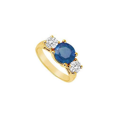 Three Stone Sapphire and Diamond Ring : 14K Yellow Gold - 3.00 CT TGW