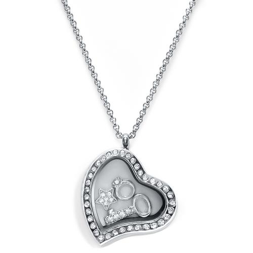 Love Heart Floating Locket ringed with stones