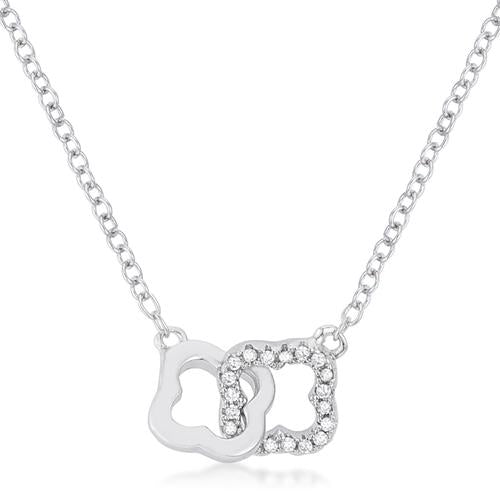 .21 Ct Rhodium Necklace with Floral Links