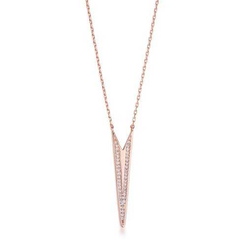 .2Ct Rose Gold Plated CZ Embedded Elongated Arrow Necklace
