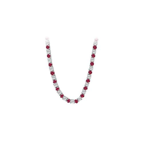 14K White Gold Ruby & Diamond Eternity Necklace 16.00 CT TGW