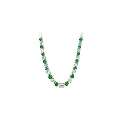 14K White Gold Emerald & Diamond Eternity Necklace 17.00 CT TGW