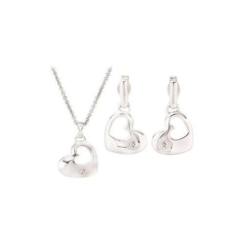 Diamond Heart Necklace and Earrings Set : .925 Sterling Silver - 0.01 ct tw