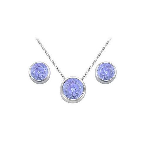 Tanzanite Pendant and Stud Earrings Set in Sterling Silver 2.00 CT TGW