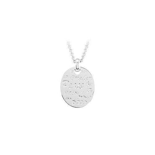 Peace Necklace with Diamond & Sterling Silver Rhodium Plate