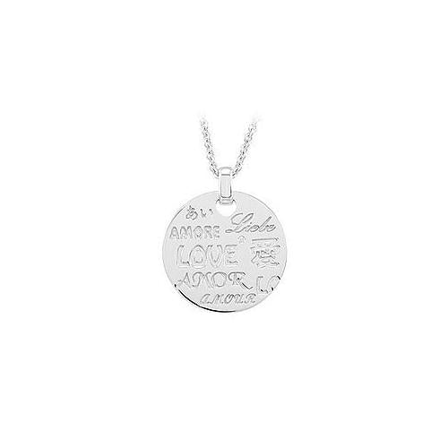 Love Necklace with Diamond & Sterling Silver Rhodium Plate