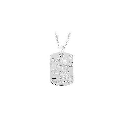 Faith 18 Inches Necklace with Diamond & Sterling Silver Rhodium Plate
