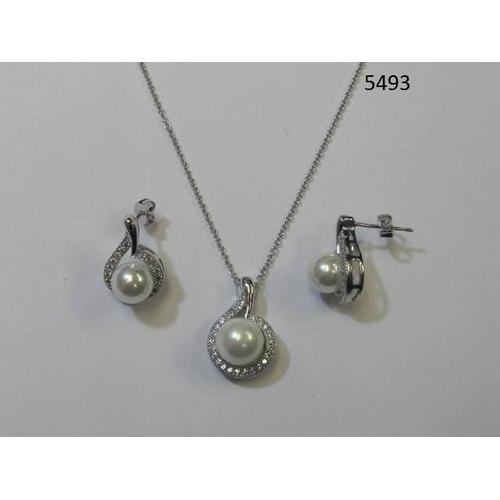 CZ Necklace and Earring Set with Pearl Rhodium Plated in Gift Box