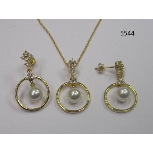 CZ Necklace and Earring Set with Pearl Gold ElectroPlated in Gift Box