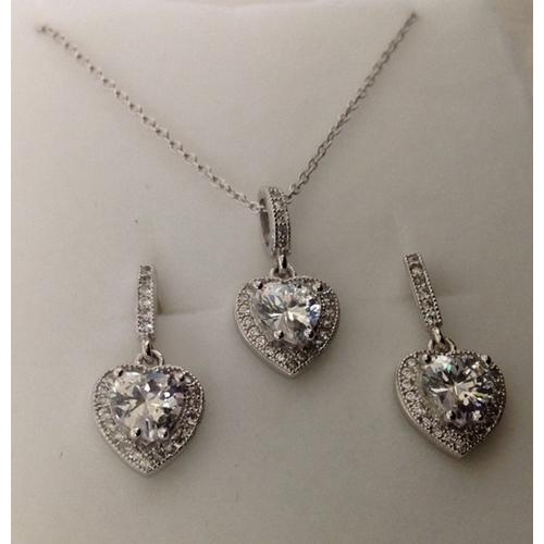 Sterling Silver 925 Necklace and Earring Set Lead-Free and Nickel-Free.