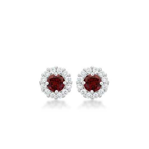 Bella Bridal Earrings In Garnet Red E50163R-C13