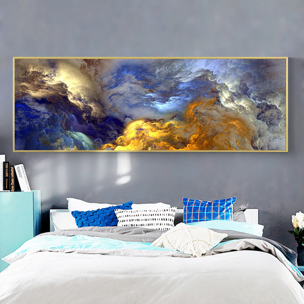 Abstract Colors Unreal Canvas Poster Blue Landscape Wall Art Painting  Living Room Wall Hanging Modern Art Print Painted