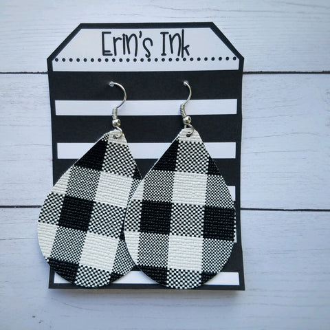 White and Black Buffalo Plaid Vegan Leather Teardrop Earrings Erin's Ink