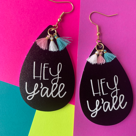 Hey Y'all Tassel Vegan Leather Teardrop Earrings Erin's Ink