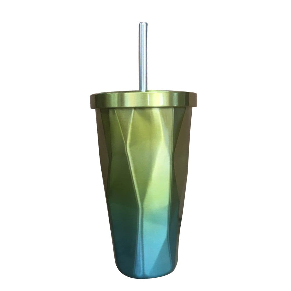 Stainless Steel Tumbler with Straw - Irregular Diamond Shape