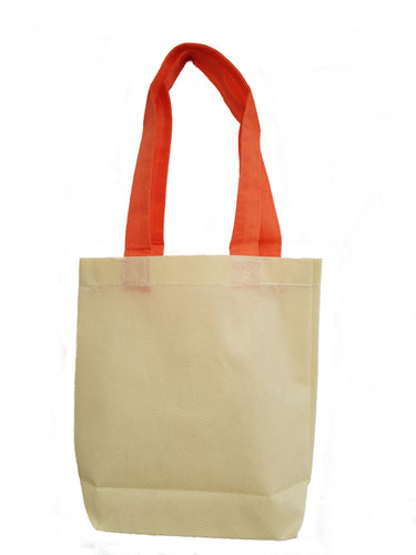 Mini natural budget tote with Orange handles
