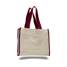 Heavy Duty Gusseted Canvas Tote with Colored Handles