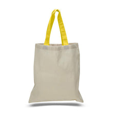 Cotton totes with colored handles