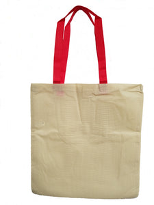 Natural Polypropylene tote with Red Handles