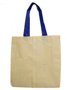 Natural Polypropylene tote with Royal Blue Handles
