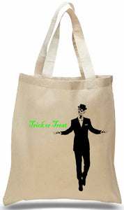 Trick or Treat Tote for Halloween with Skeleton in Suit