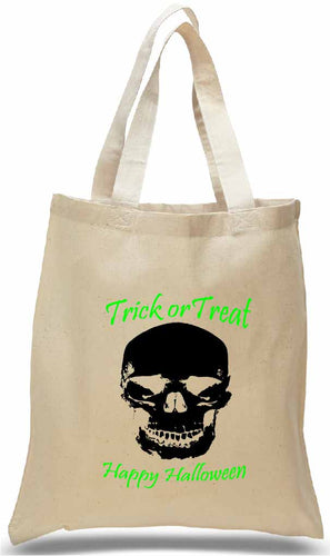 Halloween Trick or Treat Tote with Skull