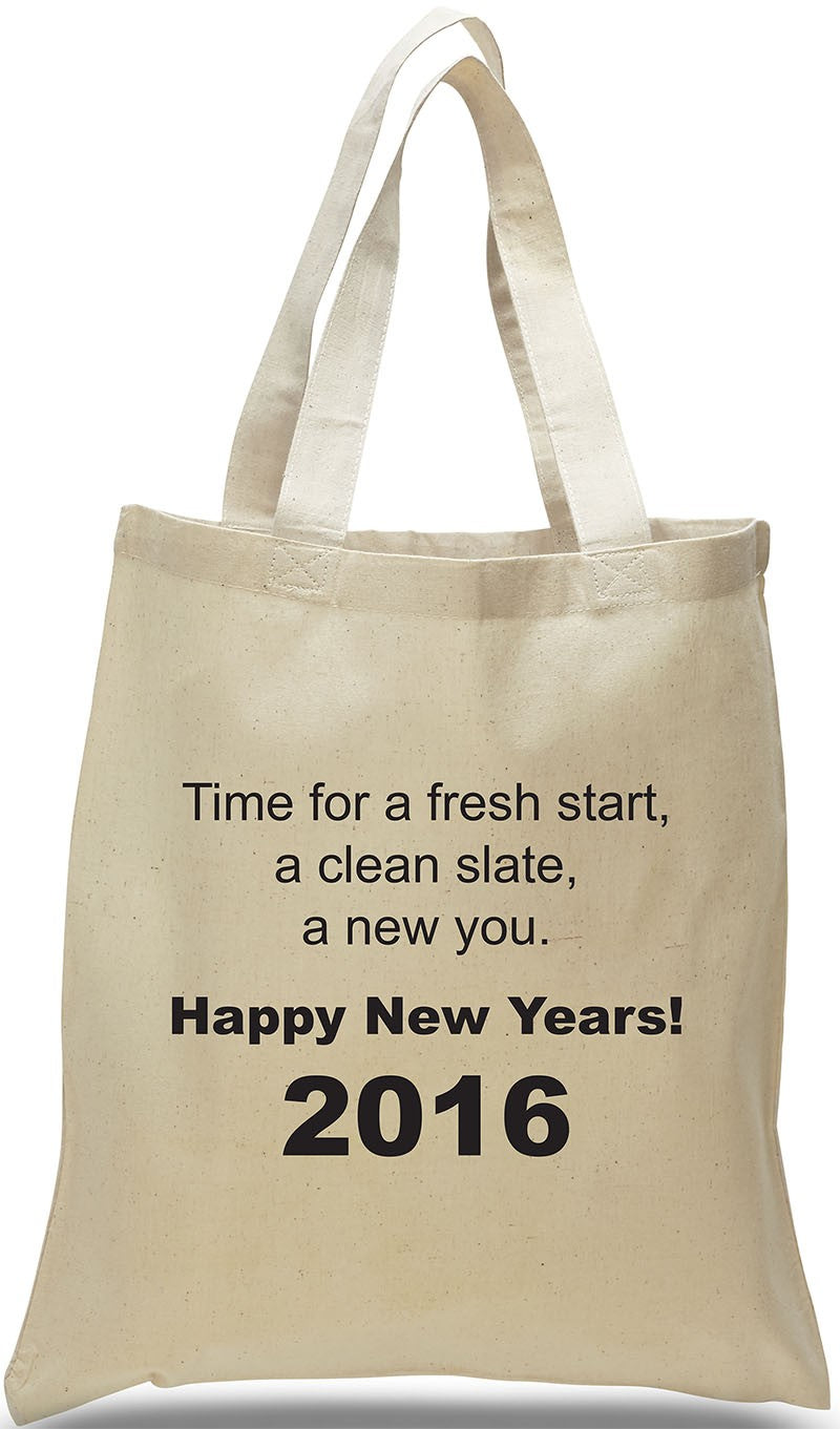 New Year's All Cotton Canvas Tote with Inspiring Message,